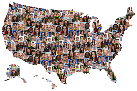 usa map people young people group