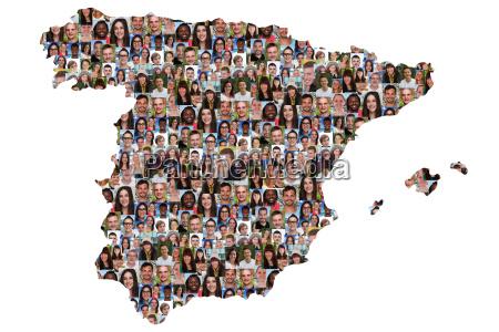 spanien karte menschen junge leute gruppe