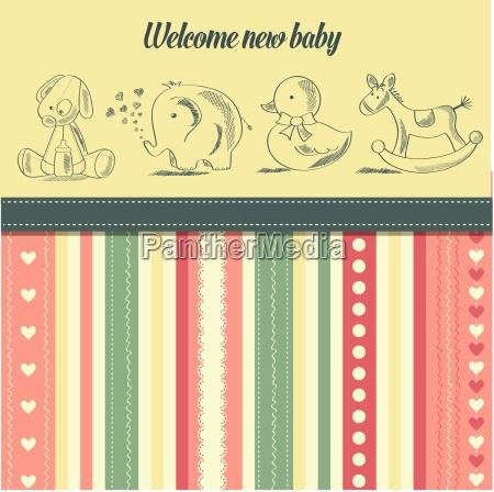 neue baby mitteilung karte mit retro