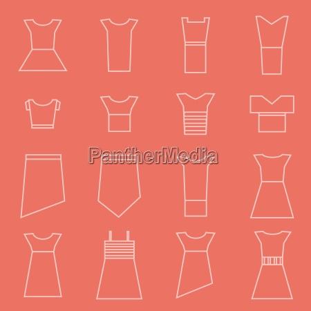 bekleidung fuer frauen icons set