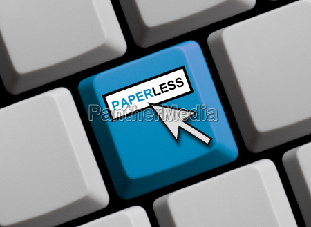 keyboard with mouse arrow pointing paperless