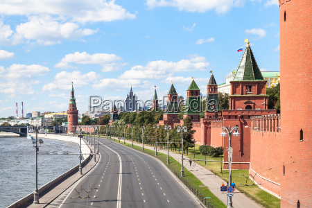the kremlin embankment in summer moscow