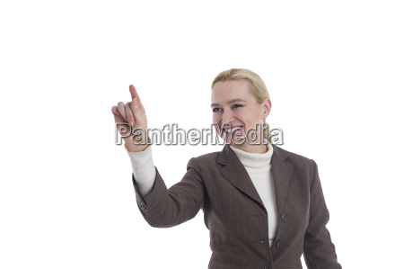 woman pointing to the left with