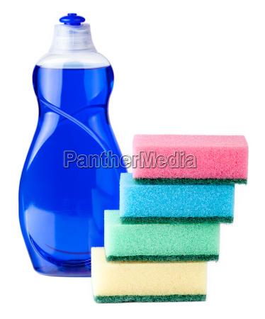 dishwashing liquid blue with sponges on