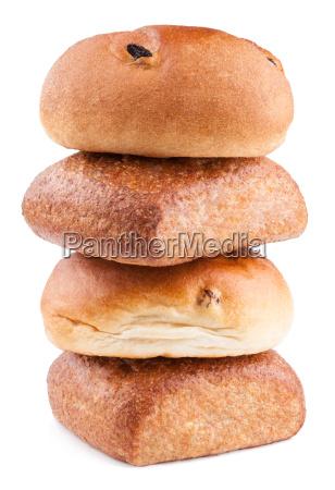 wholemeal and raisin bun stack on