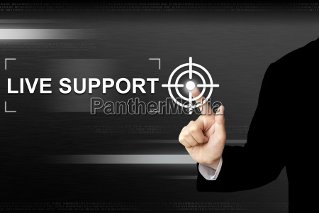 business hand pushing live support button