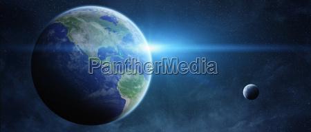 sonnenaufgang ueber dem planeten erde im
