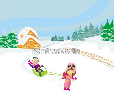 spass winter tag kinder happy snow