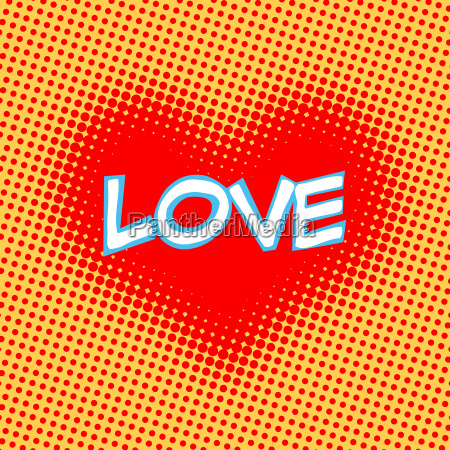 love red heart inscription retro style
