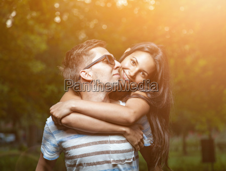 young happy couple in love having