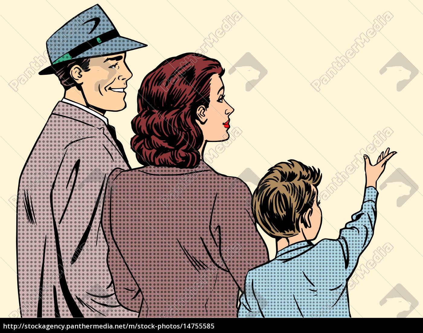familie, mama, papa, und, sohn, retro-stil, pop-art - 14755585