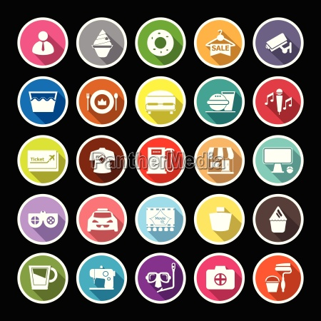 franchisee business flat icons with long