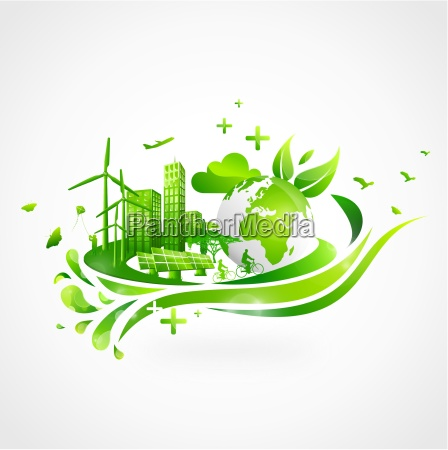 gruene stadt mit erde