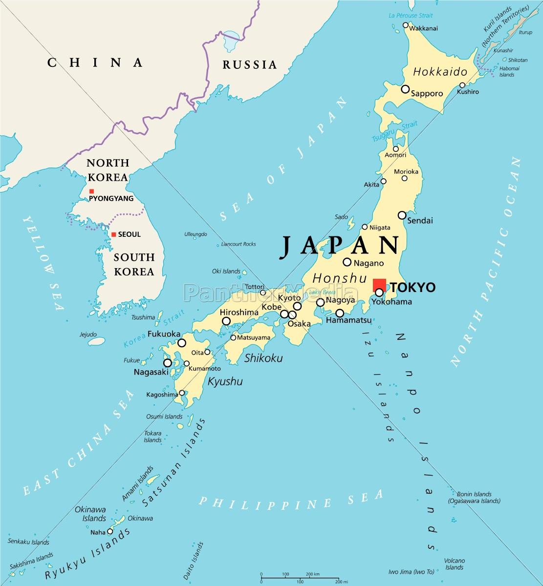 Japan Politische Karte Lizenzfreies Bild 14761805