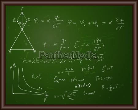 blackboard mit physikalischen formeln