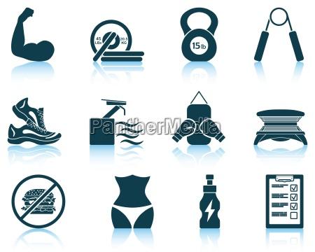 set von fitness symbole
