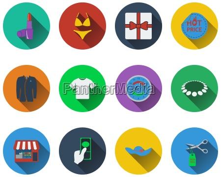 set von shopping icons