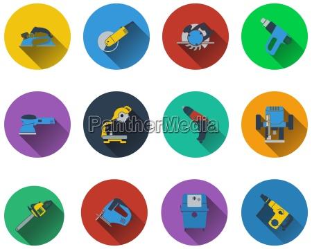 satz von elektrischen arbeitsgeraeten symbole