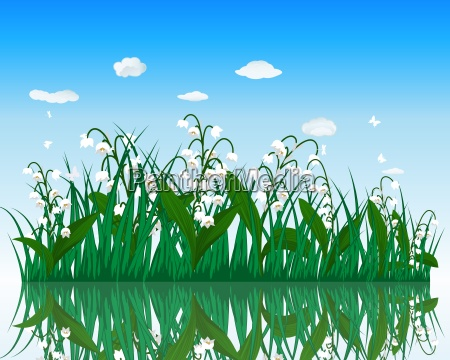 flower with grass on water surface