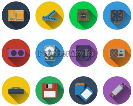 satz von computer hardware icons in
