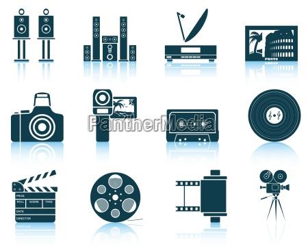 set von multimedia symbole