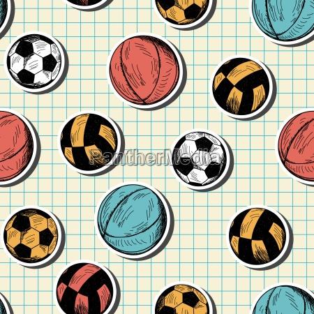 nahtlose muster mit hand verschiedenen sport