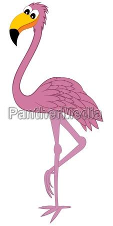 lustiger cartoon flamingo