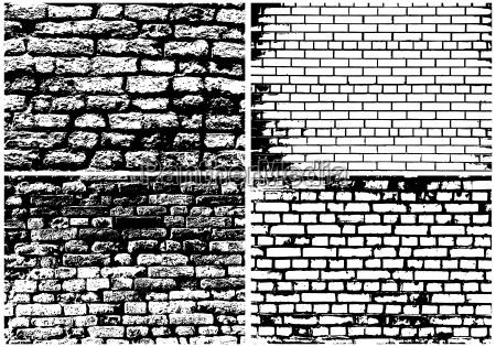 set von abstrakten grunge ziegelmauer