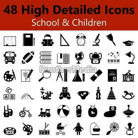schule und kinder glatte symbole