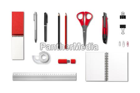 papier und buerobedarf mockup vorlage mit