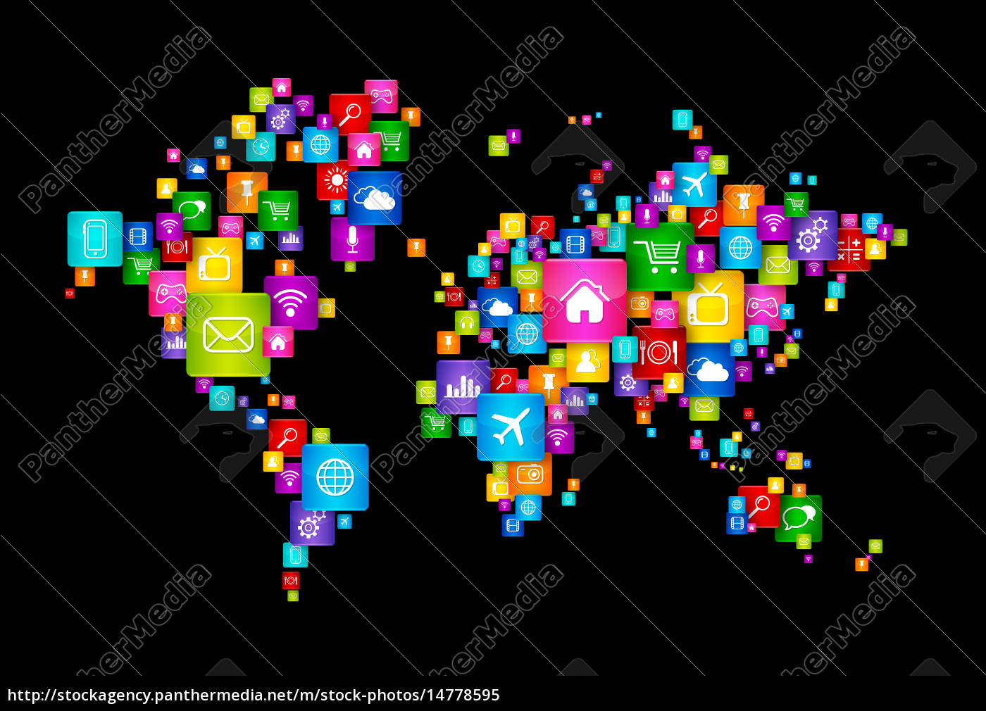 world map of flying desktop icons gemacht - Lizenzfreies Bild ... on