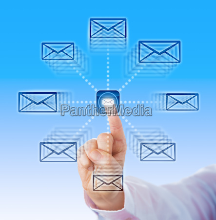 zeigefinger senden e mail icons in