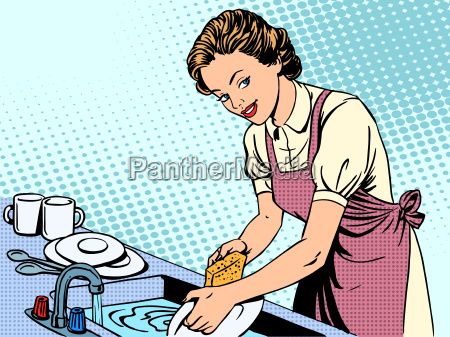 frau abwasch hausfrau hausarbeit komfort