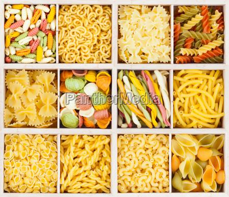 set from italian pasta background