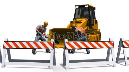 radlader bulldozer und bauarbeiter auf baustelle