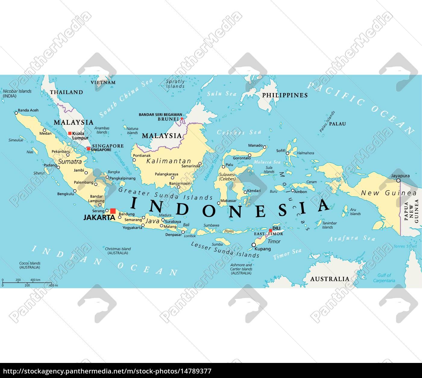 Indonesien Karte.Lizenzfreie Vektorgrafik 14789377 Indonesien Politische Karte