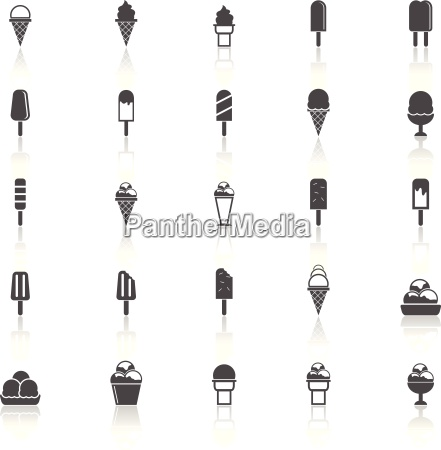 ice cream icons with reflect on