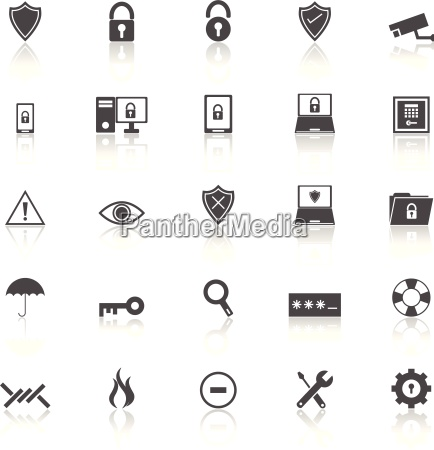 security icons with reflect on white