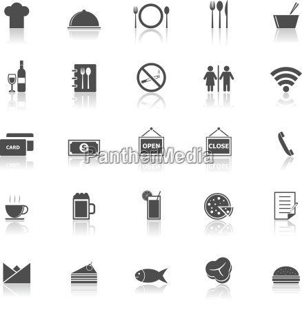 restaurant icons with reflect on white