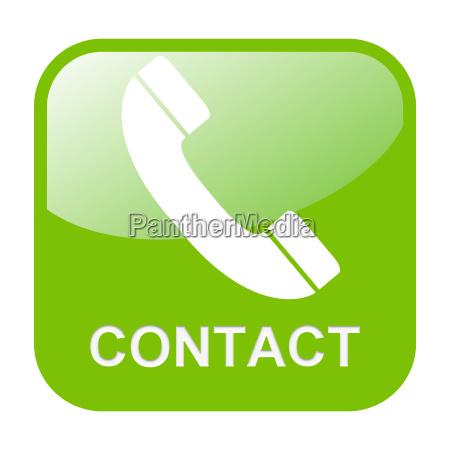 button mit telefonhoerer contact