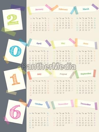 cooler kalender mit farbbaendern fuer 2016