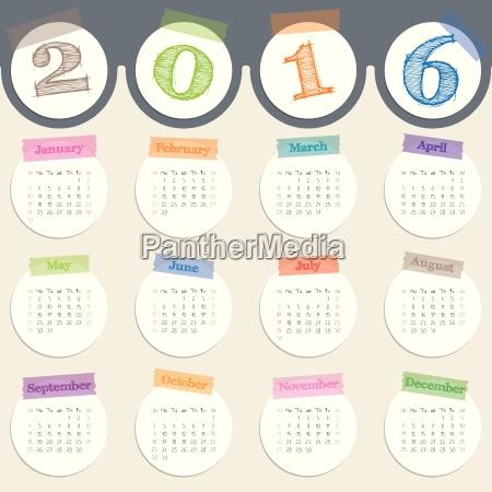 ausgefallener kalender mit farbbaendern fuer 2016