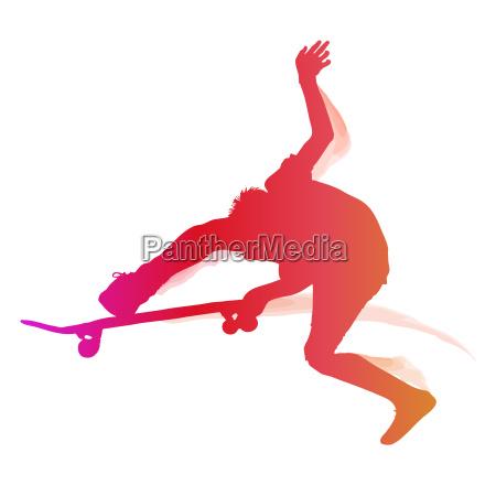 skaterboarder einen trick durchfuehren