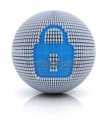 security icon on globe formed by