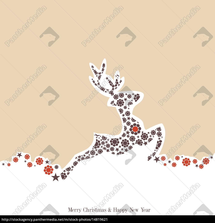 weihnachten, hintergrund, mit, rentieren, verziert, vintage-stil - 14819621