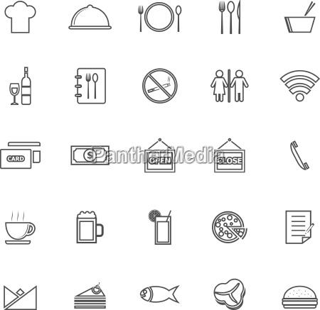 restaurant line icons on white background