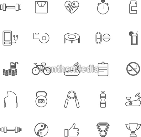 fitness line icons on white background