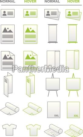 sammlung von icons medien werbung