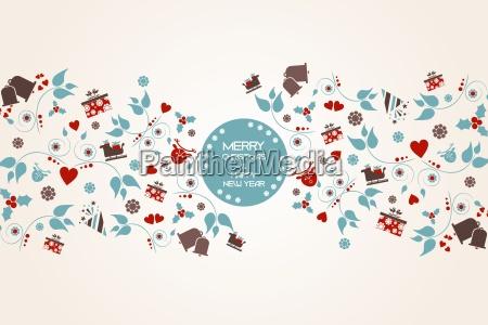 vintage, christmas, hintergrund, mit, floralen, und - 14830415