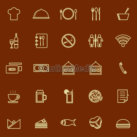 restaurant line color icons on brown